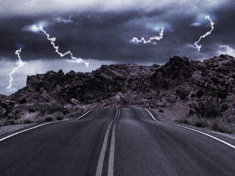 rain, storm, road